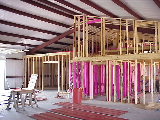 Interior framing and metal buildings fritz project for Steel building homes interior